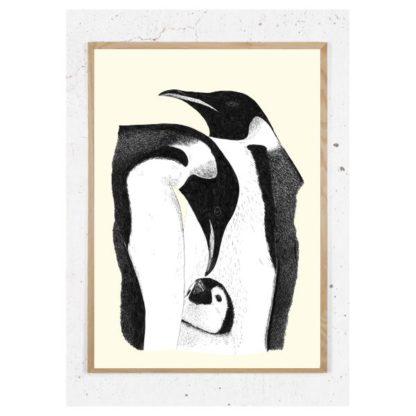 Plakat med pingvinfamilie