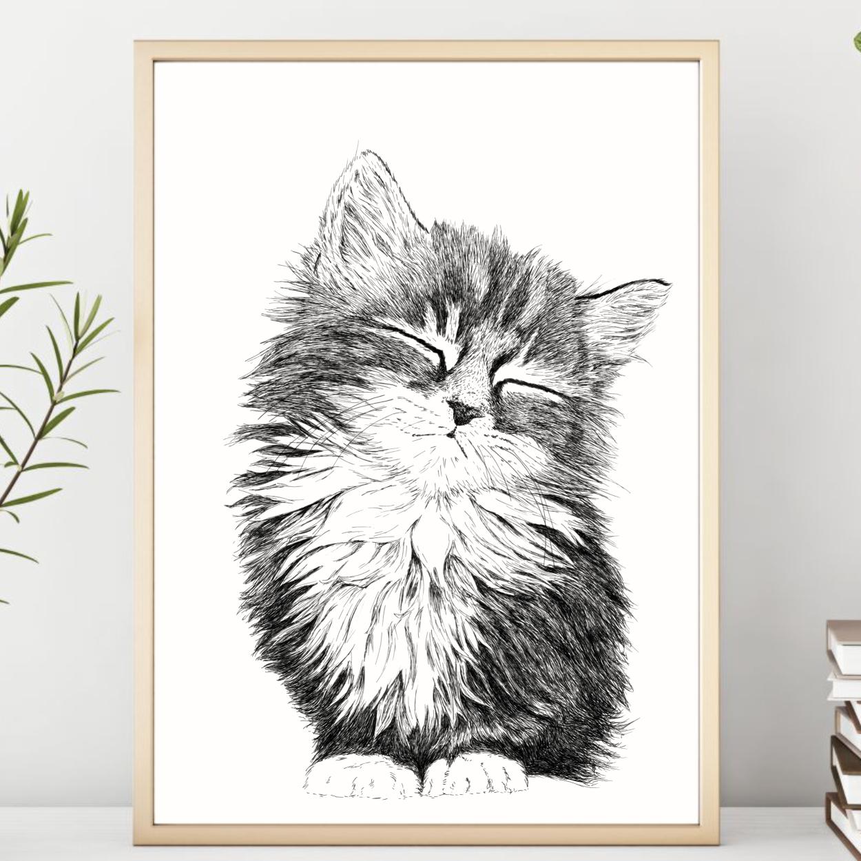 Plakat med sød kattekilling