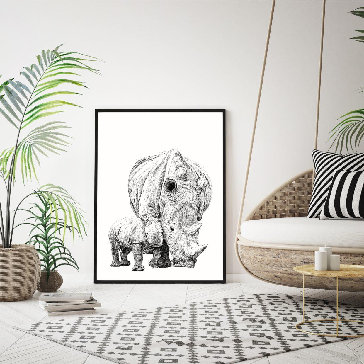 Næsehorn med unge